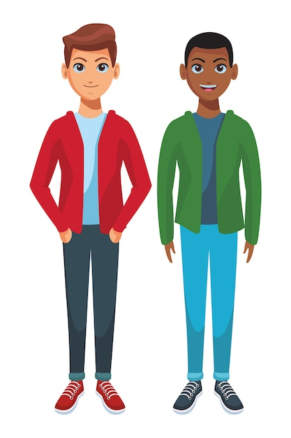 Desenho De Corpo De Homens Jovens Vetor Premium