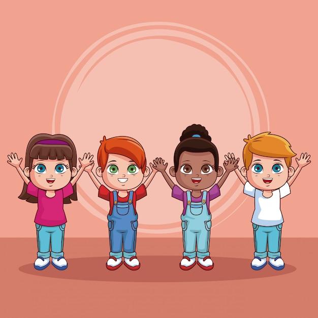Desenho De Criancas Bonito E Feliz Sobre Fundo Colorido Vetor