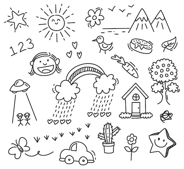 Desenho De Criancas No Fundo Branco Vetor Premium