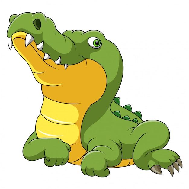 Desenho de crocodilo feliz Vetor Premium
