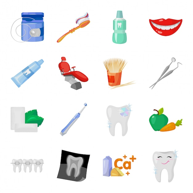 Desenho de cuidados dentários definir ícone. ilustração odontologia. conjunto de ícones isolados dos desenhos animados viajar odontologia e odontologia. Vetor Premium