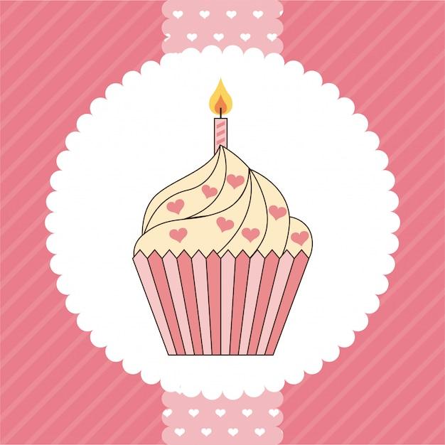 Desenho de cupcake Vetor Premium