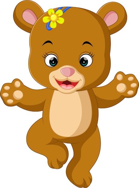 Desenho De Danca De Urso Bebe Fofo Vetor Premium