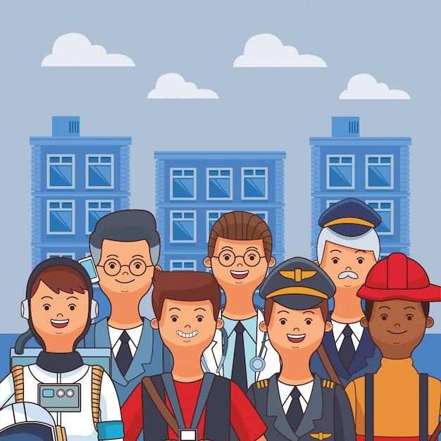 Desenho de dia de trabalho americano Vetor Premium