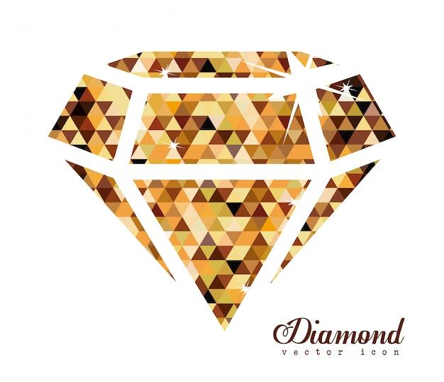 Desenho de diamante, ilustração vetorial. Vetor Premium