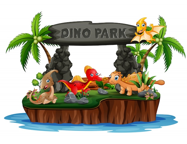 Desenho De Dinossauros Na Ilha De Dino Park Vetor Premium