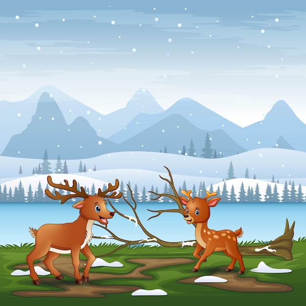 Desenho de dois cervos brincando na paisagem de inverno Vetor Premium