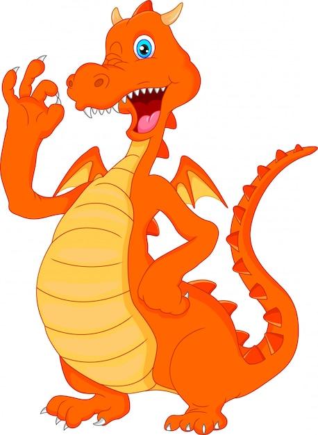 Desenho de dragão de fogo bonito acenando Vetor Premium