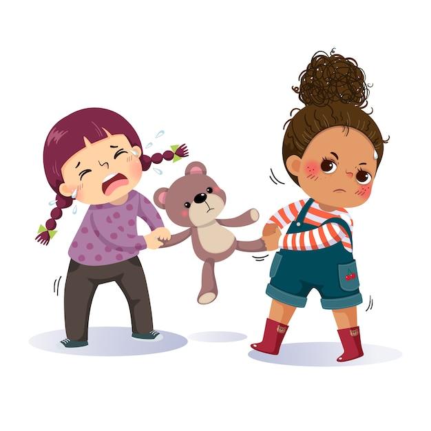 Desenho de duas meninas brigando por um ursinho de pelúcia. o conflito entre crianças. Vetor Premium