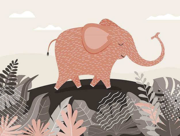 Desenho de elefante fofo entre selva com folhas e árvores. Vetor Premium