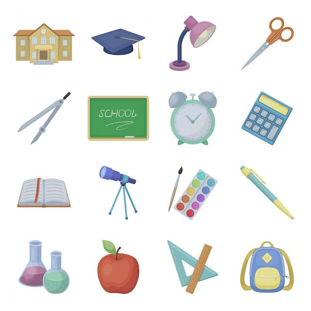 Desenho de escola definir ícone. educação de ilustração. escola de ícone definido dos desenhos animados isolados. Vetor Premium