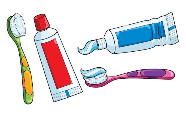 Desenho de escova de dentes e creme dental Vetor Premium
