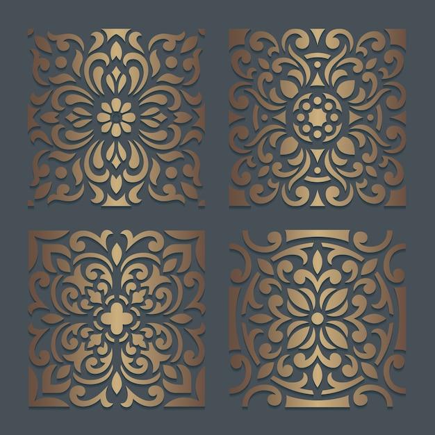 Desenho de estêncil de azulejos. padrão de silhueta ornamentado para corte a laser ou máquinas de corte e vinco. molde oriental do decalque de madeira. Vetor Premium