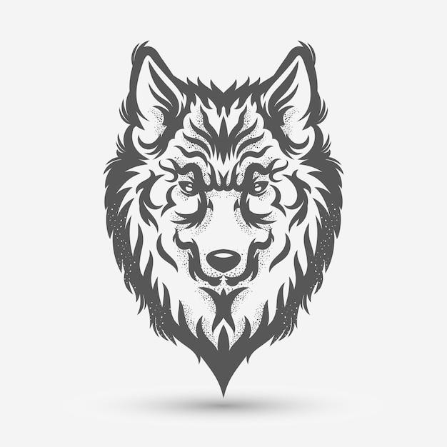 Desenho de estilo de escova de cabeça de lobo Vetor Premium