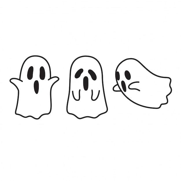 Desenho De Fantasma De Halloween Vetor Premium