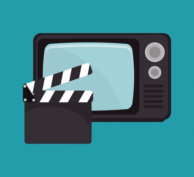 Desenho de filme de tv de claquete de desenhos animados Vetor Premium