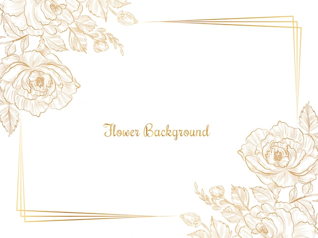 Desenho de flor de esboço dourado desenhado à mão Vetor grátis