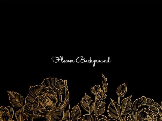 Desenho de flor desenhada a mão dourada em preto Vetor grátis