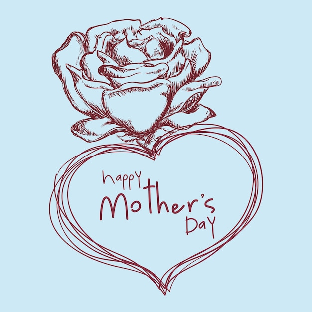 Desenho de flor feliz dia das mães bonito Vetor Premium