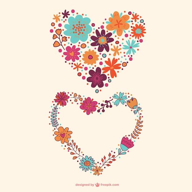 desenho de flores corações baixar vetores grátis