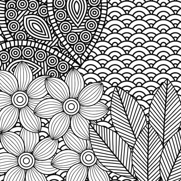 Desenho De Flores Monocromáticas Para Colorir Adulto Vetor