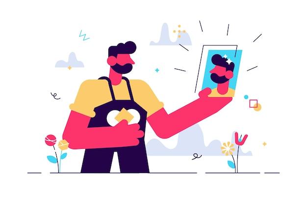 Desenho de foto de selfie com homem segurando smartphone Vetor Premium