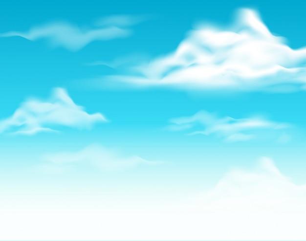Desenho De Fundo Com Ceu Azul Vetor Premium