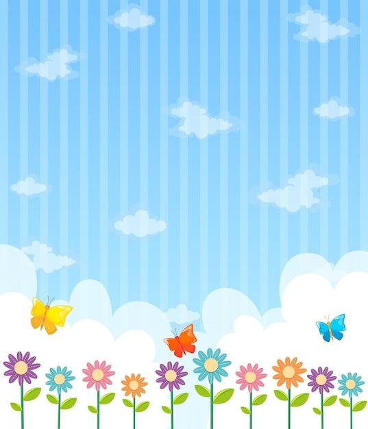 Desenho De Fundo Com Flores E Ceu Azul Vetor Gratis