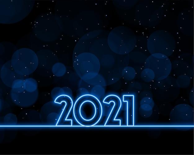 Desenho de fundo de estilo néon feliz ano novo 2021 Vetor grátis