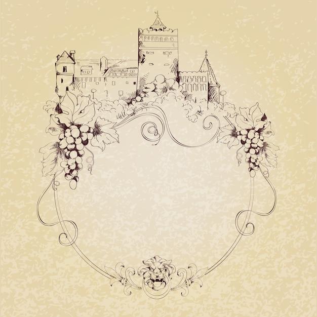 Desenho de fundo do castelo Vetor grátis
