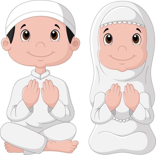 Desenho de garoto muçulmano Vetor Premium
