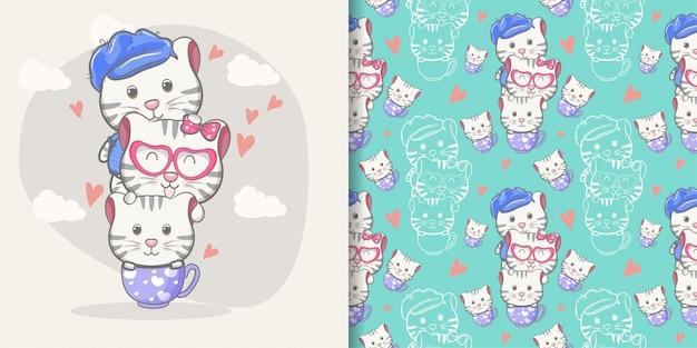 Desenho de gato bonito com conjunto padrão Vetor Premium