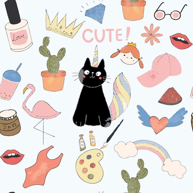 Desenho de gato preto bonito Vetor Premium