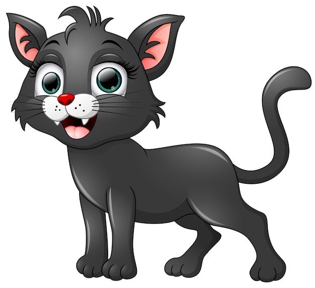 Desenho De Gato Preto Isolado No Fundo Branco
