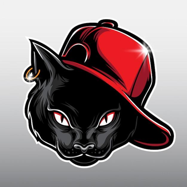 Desenho de gato preto Vetor Premium