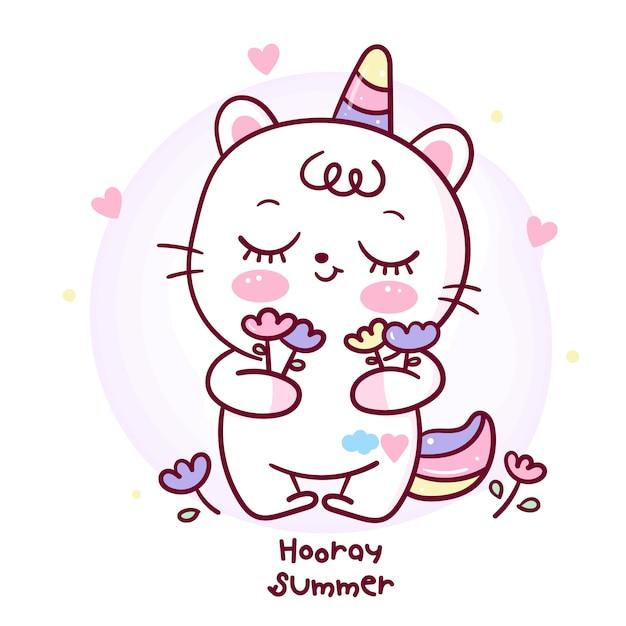Desenho de gato unicórnio fofo segurando flor para férias de verão Vetor Premium