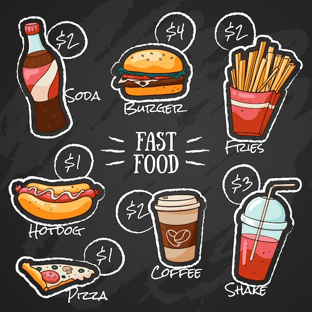 Desenho de giz menu de fast food para restaurante com preços Vetor Premium