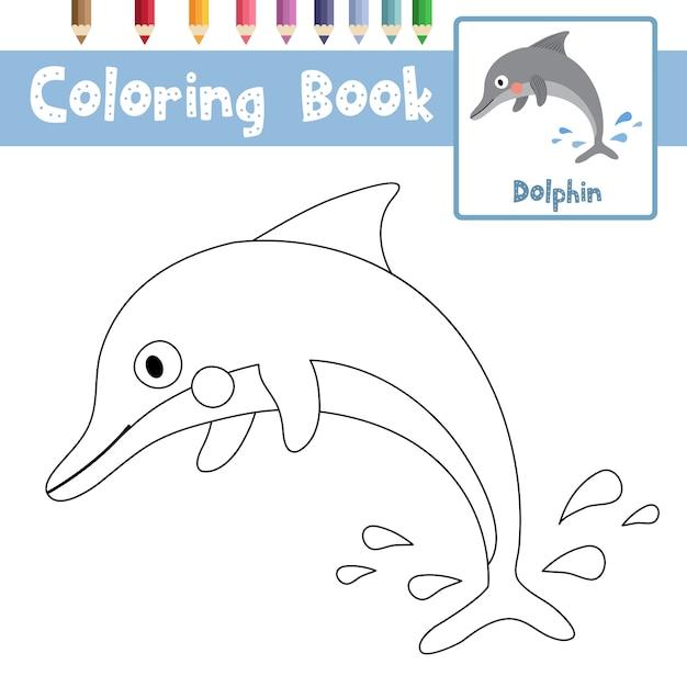 Desenho De Golfinho Para Colorir Vetor Premium