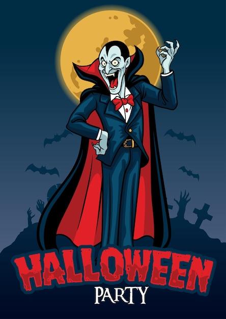 Desenho de halloween de vampiro no fundo do cemitério Vetor Premium