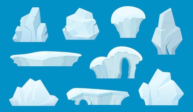 Desenho de iceberg. gelo antártico branco rochas inverno paisagem neve conjunto. pedra de gelo, iceberg na antártica, ilustração da montanha glaciar Vetor Premium