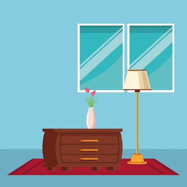 Desenho de ícone interior de casa de móveis Vetor grátis