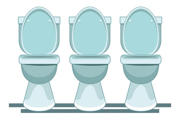 Desenho de ícone sanitário três wc Vetor Premium
