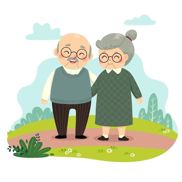 Desenho de ilustração de casal de idosos em pé e de mãos dadas no parque. conceito de dia de avós feliz. Vetor Premium