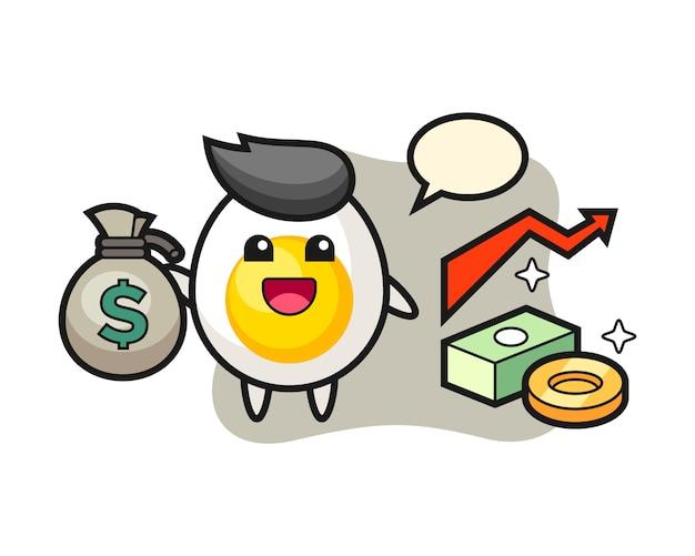 Desenho de ilustração de ovo cozido, segurando o saco de dinheiro Vetor Premium