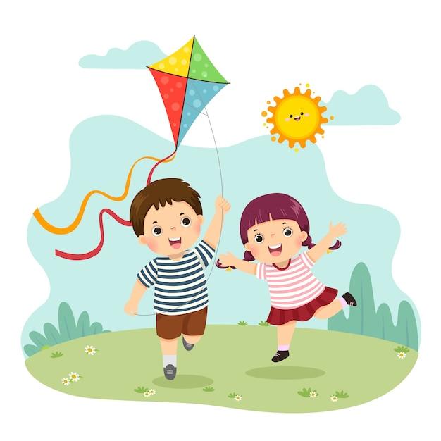 Desenho de ilustração de um menino e uma menina empinando a pipa. irmãos brincando juntos. Vetor Premium