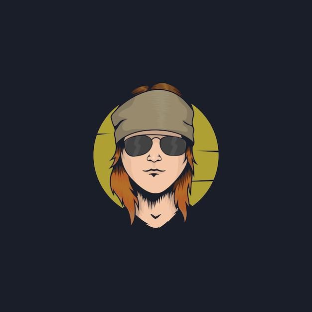 Desenho de ilustração legal rockstar face Vetor Premium