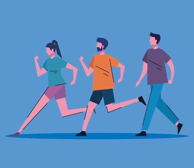 Desenho de ilustração vetorial de personagens jovens correndo e andando Vetor Premium