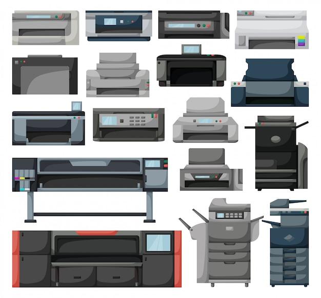 Desenho de impressora definir ícone. máquina de scanner de ilustração em fundo branco. conjunto de desenhos animados impressora de ícone. Vetor Premium