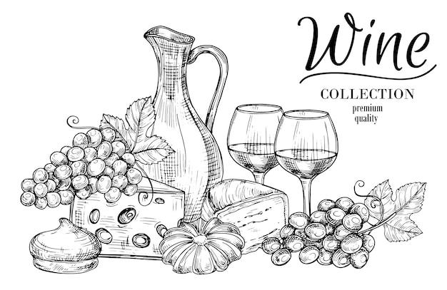 Desenho de jarro de vinho, queijo, doces e copos Vetor Premium