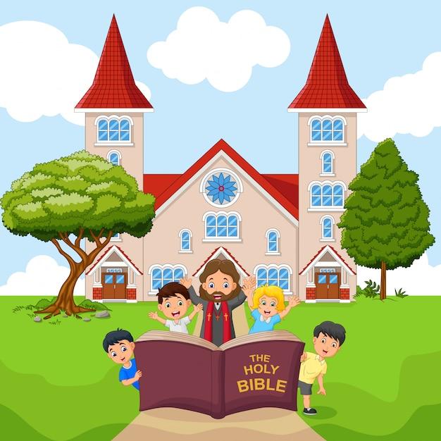 Desenho de jesus com crianças em uma igreja Vetor Premium
